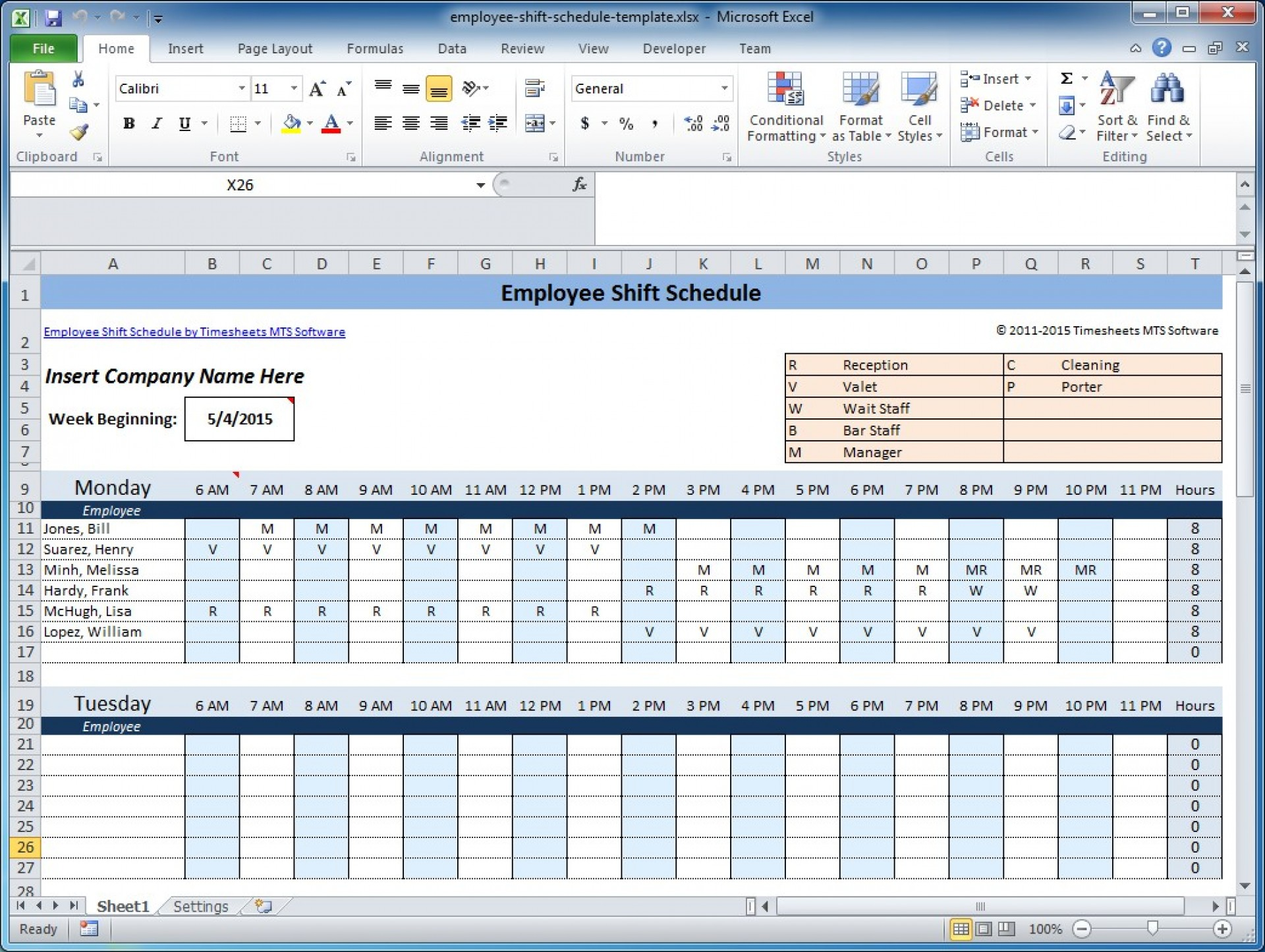 Staffing Schedule Weekly Employee Shift Schedule Template Excel