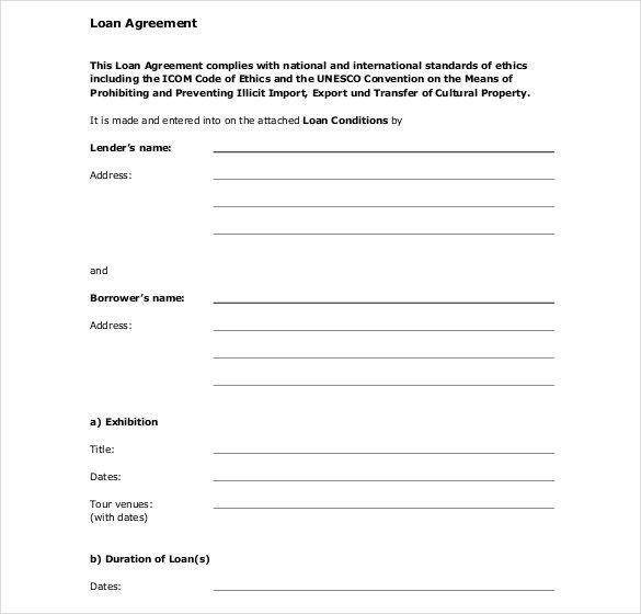 Standard Loan Agreement Template Free