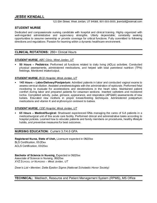 Student Nurse Resume Template Free