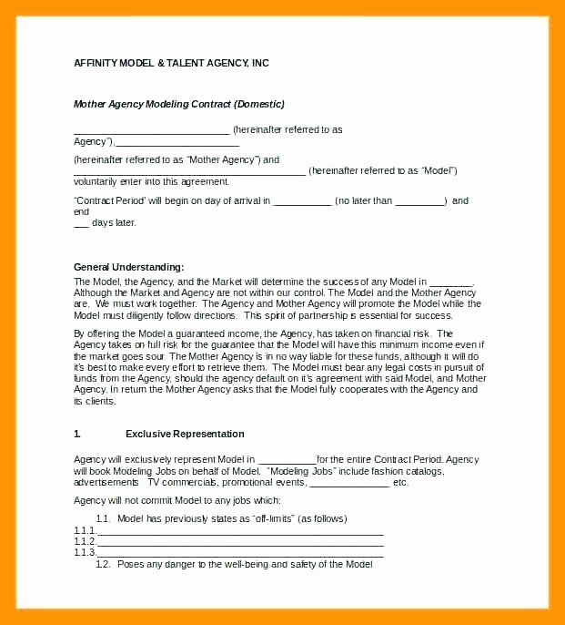 Talent Agency Contract Template