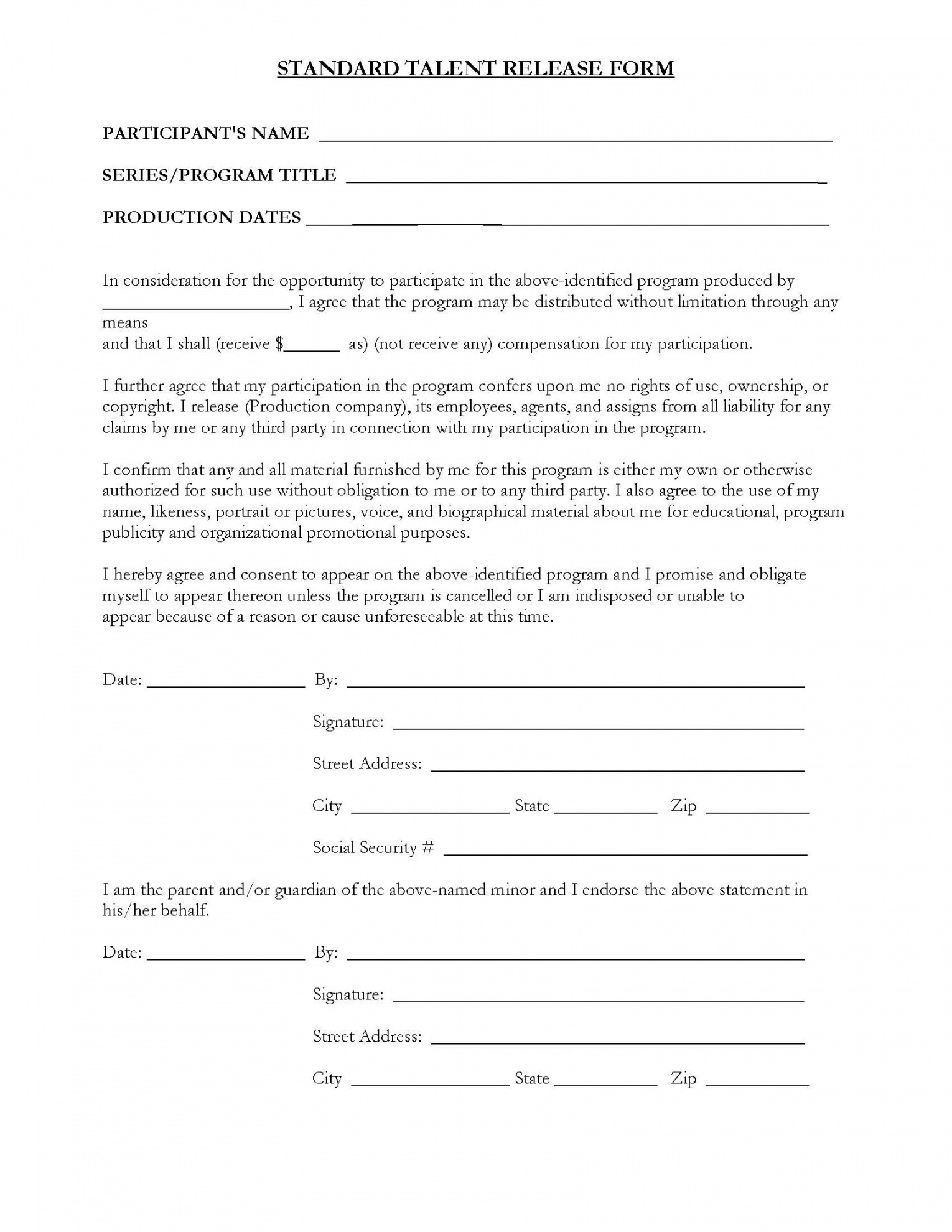 Talent Release Form Template For Video