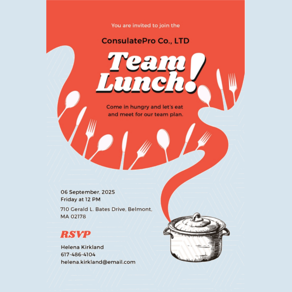 Team Lunch Invitation Template Free