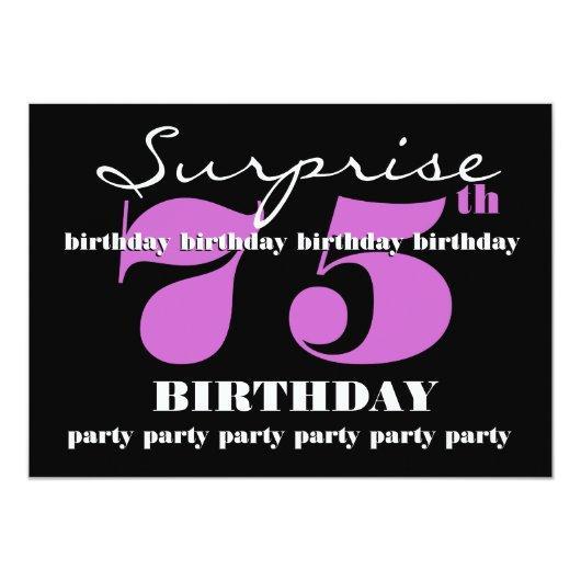 Template 75th Birthday Invitation Card