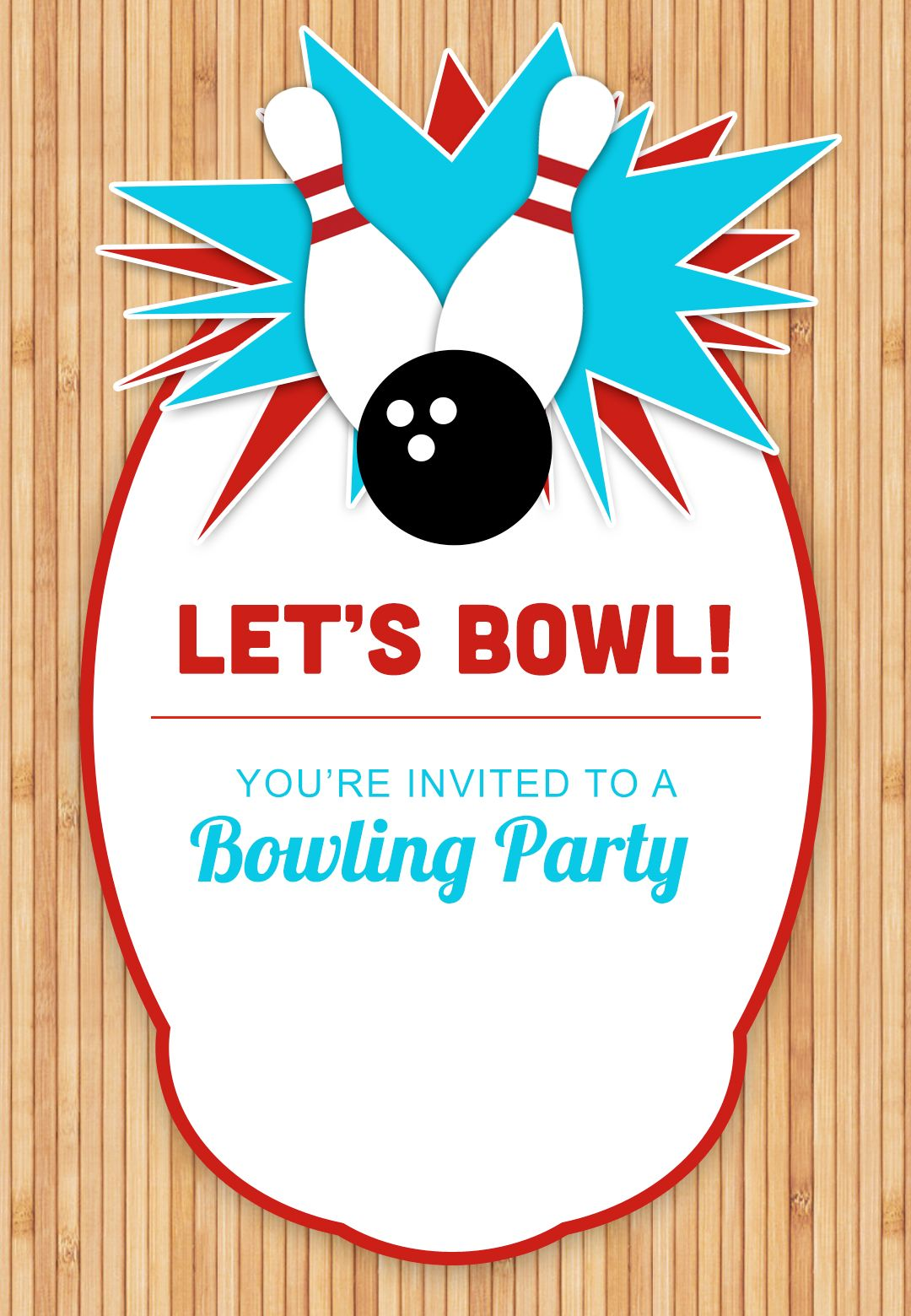Template Bowling Birthday Party Invitations