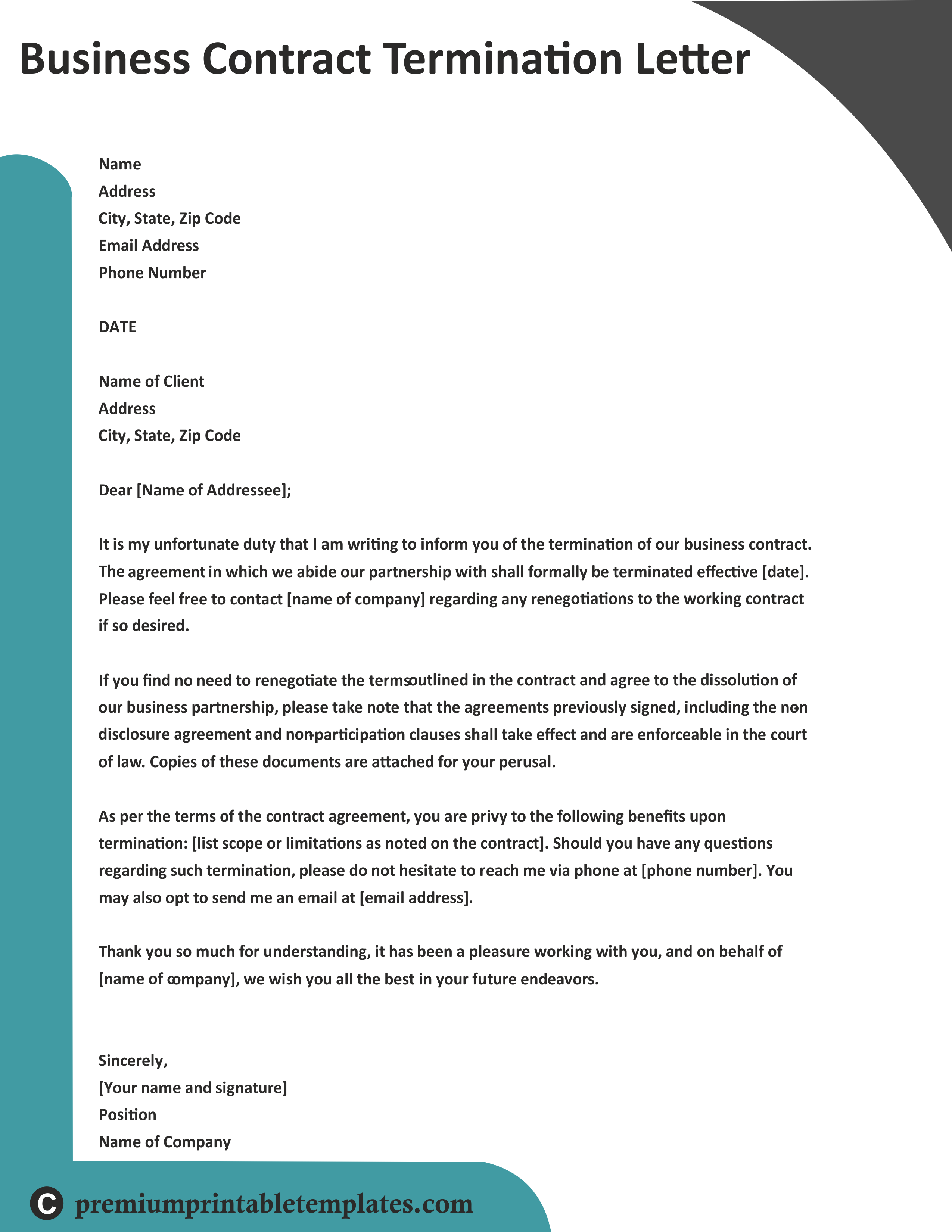 Template Business Contract Termination Letter