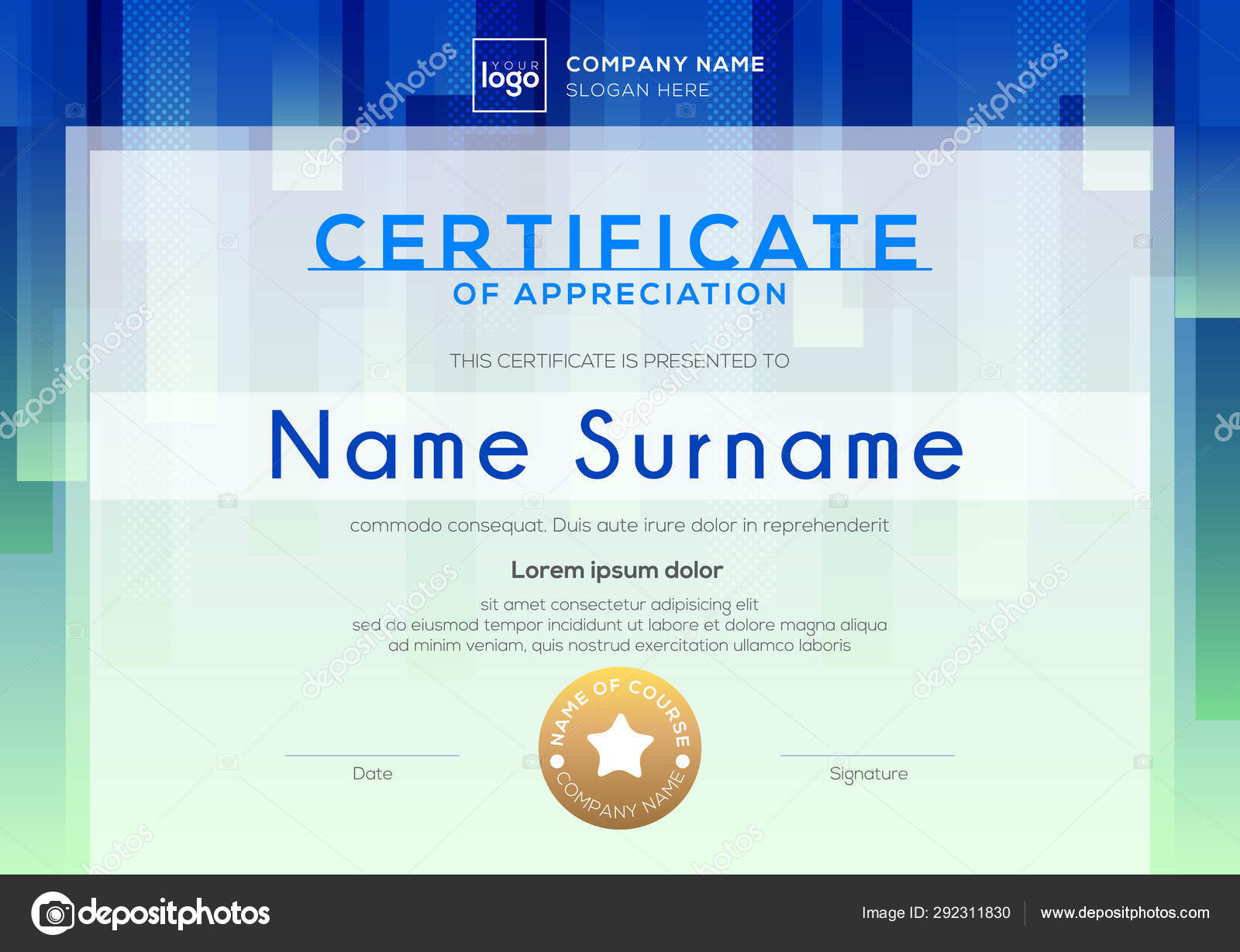 Template Certificate Of Appreciation Background Design