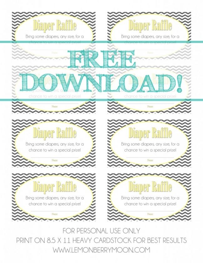 Template Diaper Raffle Tickets Free Printable