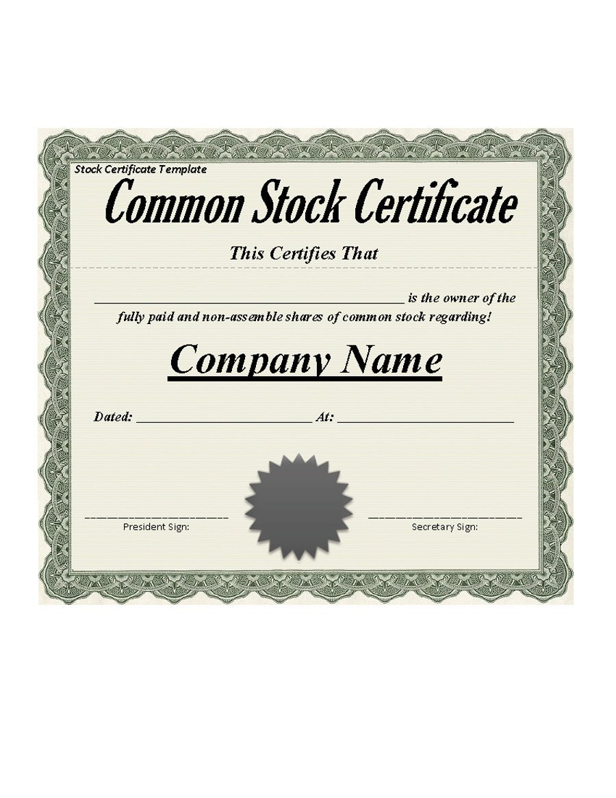 Template For Stock Certificate
