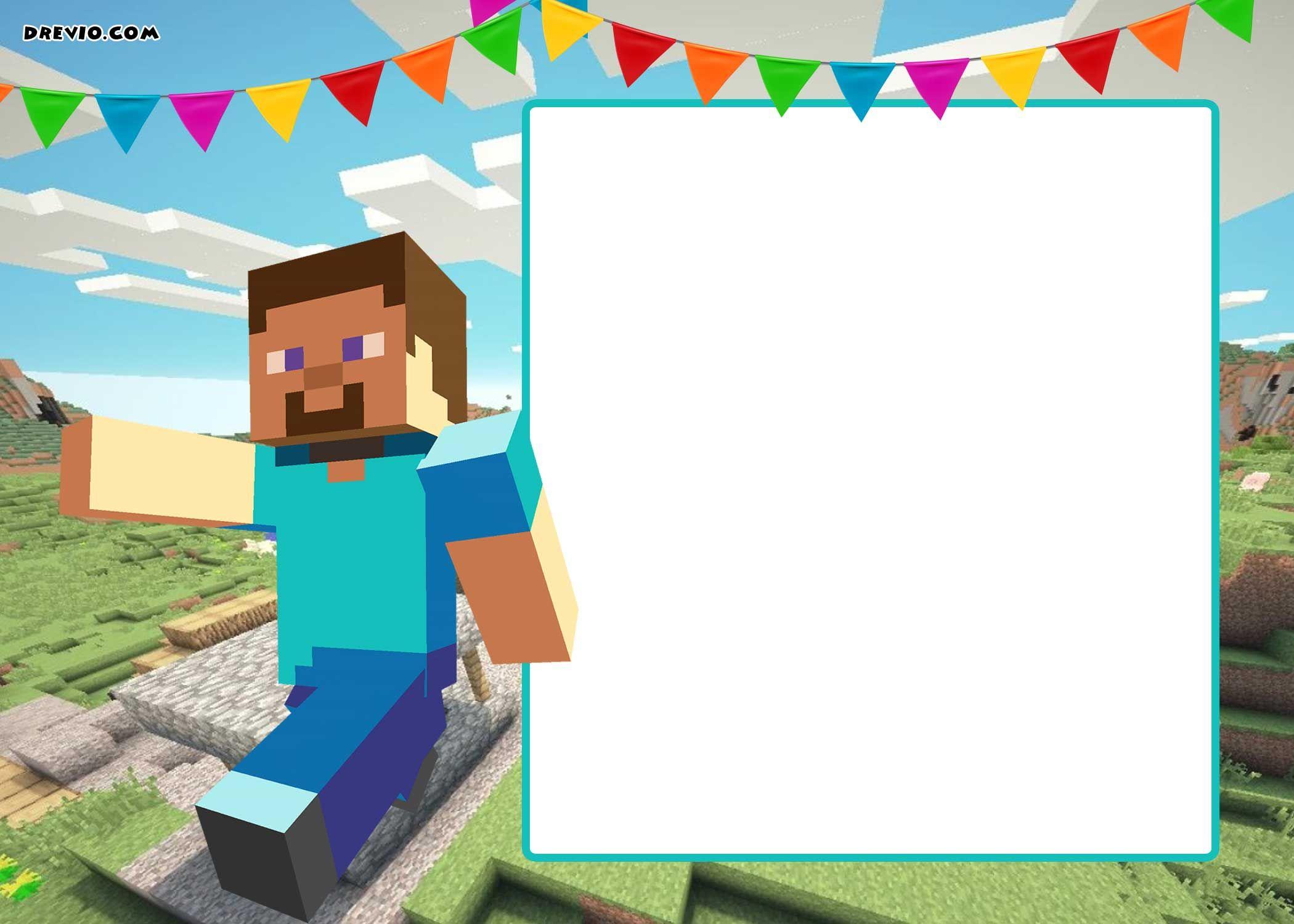 Template Free Printable Minecraft Invitations