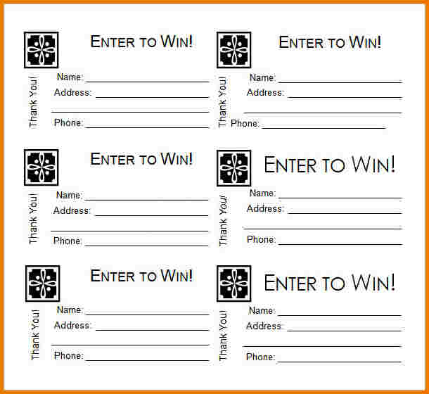 Template Free Printable Raffle Tickets Pdf