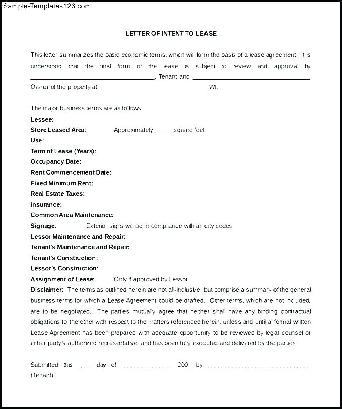 Template Letter Of Intent To Lease Commercial Property