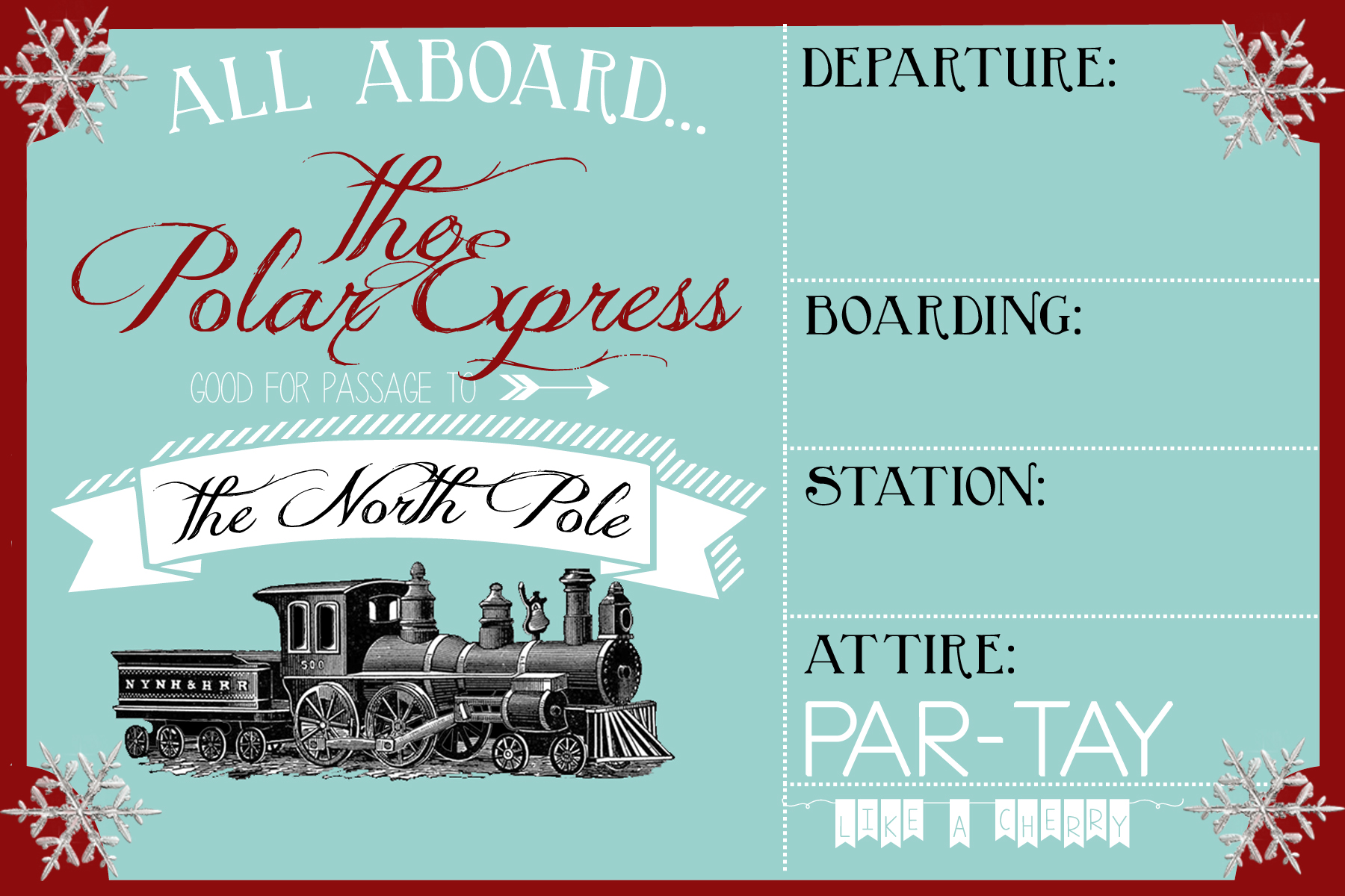 Template Polar Express Party Invitation