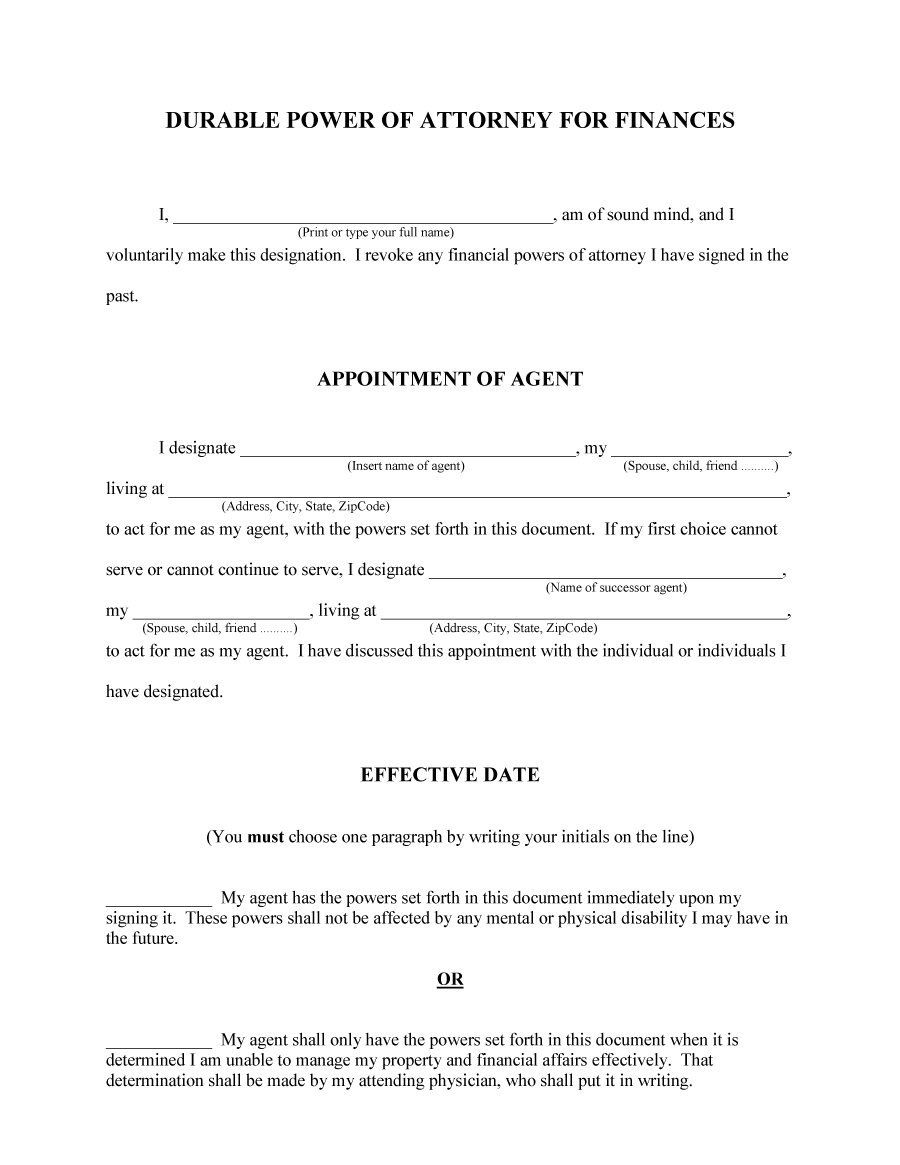 Template Printable Template Power Of Attorney