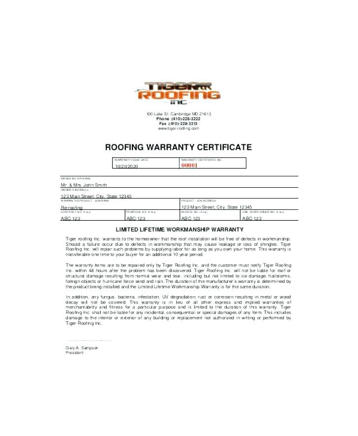 Template Roof Certification Form
