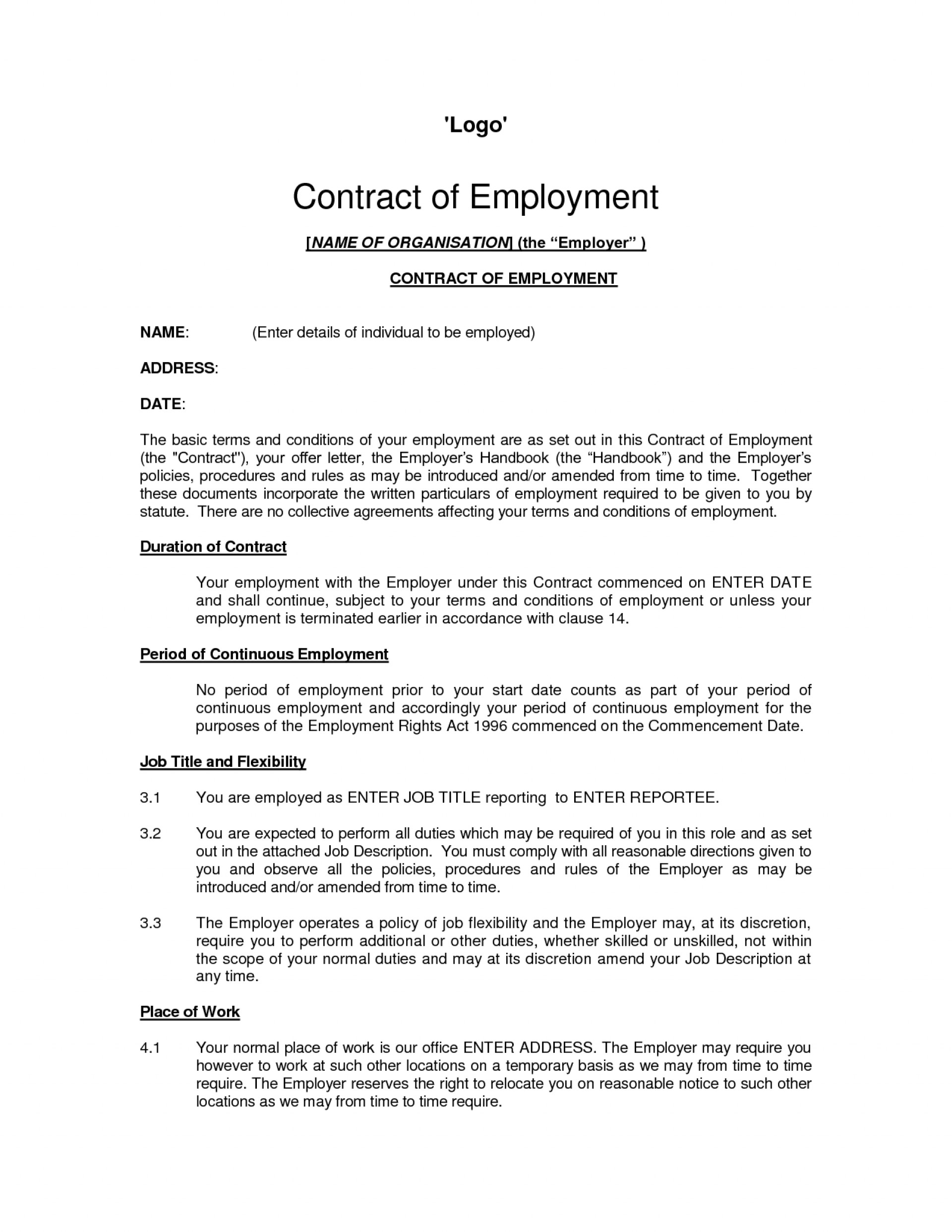 Template Sample Contract Of Employment