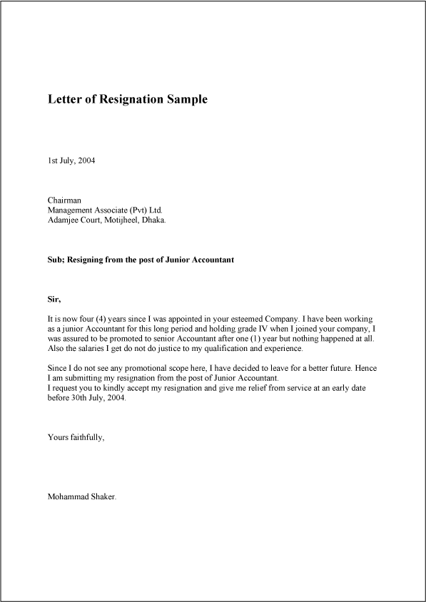 Template Sample Resignation Letter
