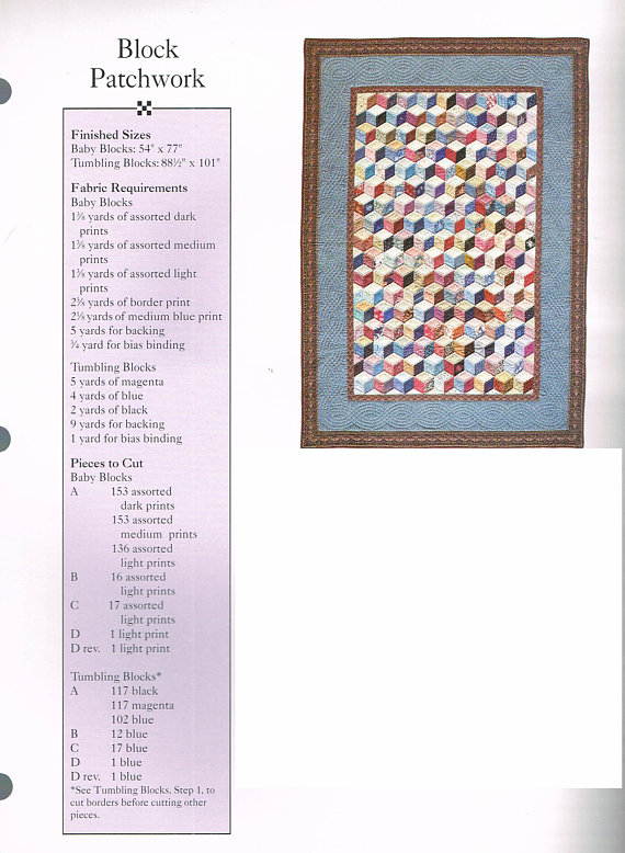 Template Tumbling Blocks Quilt Pattern