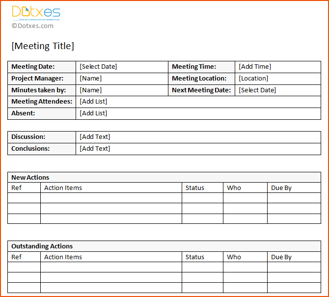 Templates For Meeting Minutes With Action Items