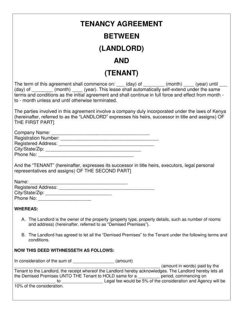 Tenant Agreement Template