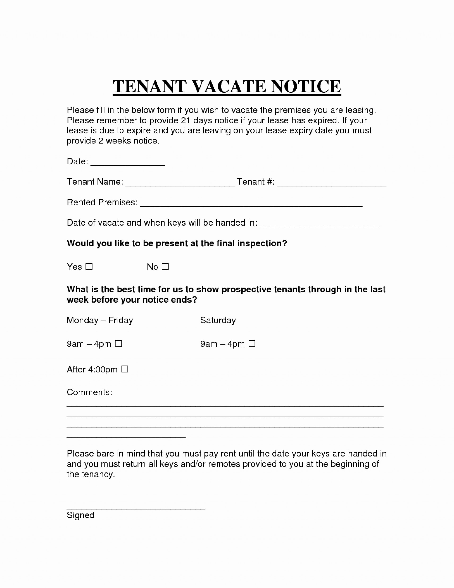Tenant Notice To Vacate Letter Template