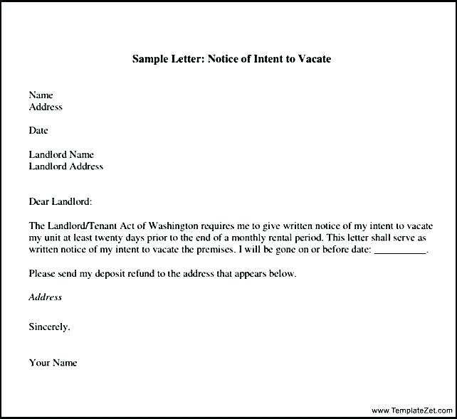 Tenant Rental Notice Letter Template