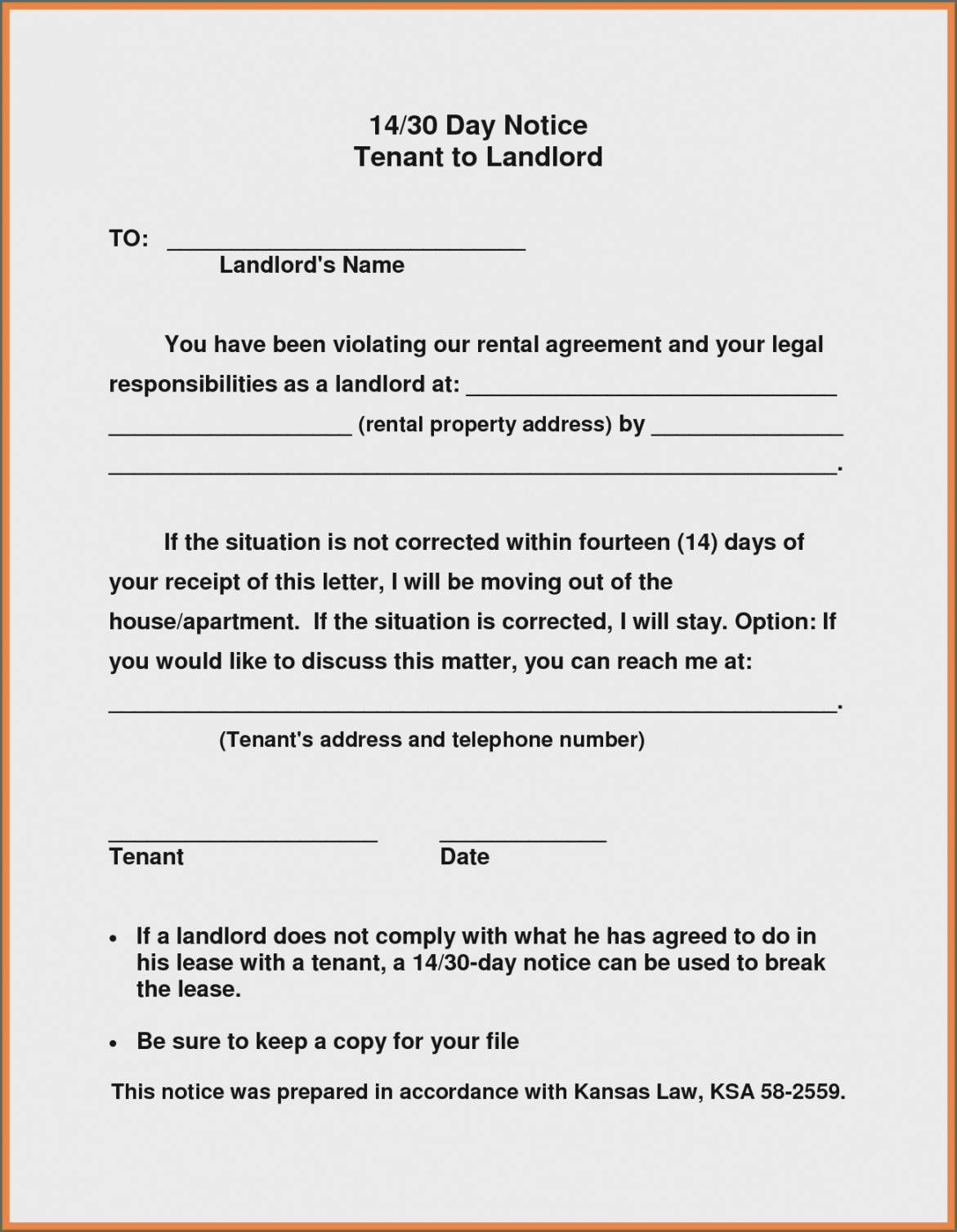 Tenant To Landlord Notice To Vacate Template