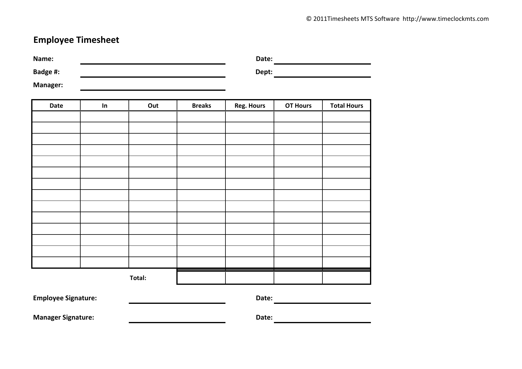 Timesheet Pdf Template