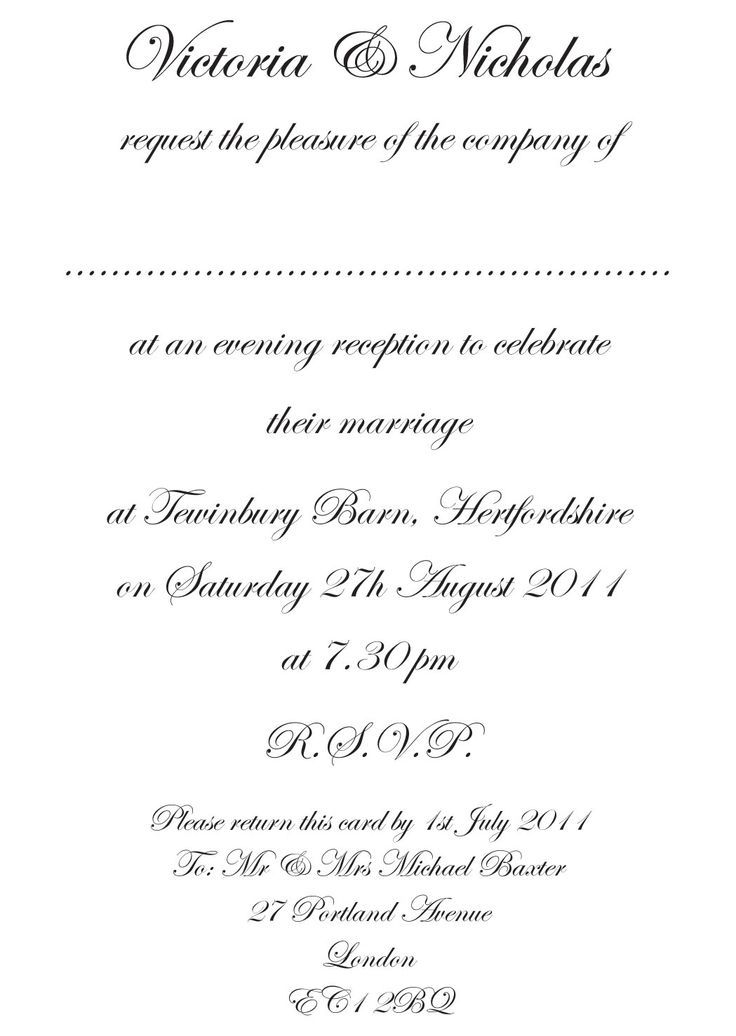 Traditional Wedding Invitation Wording Templates