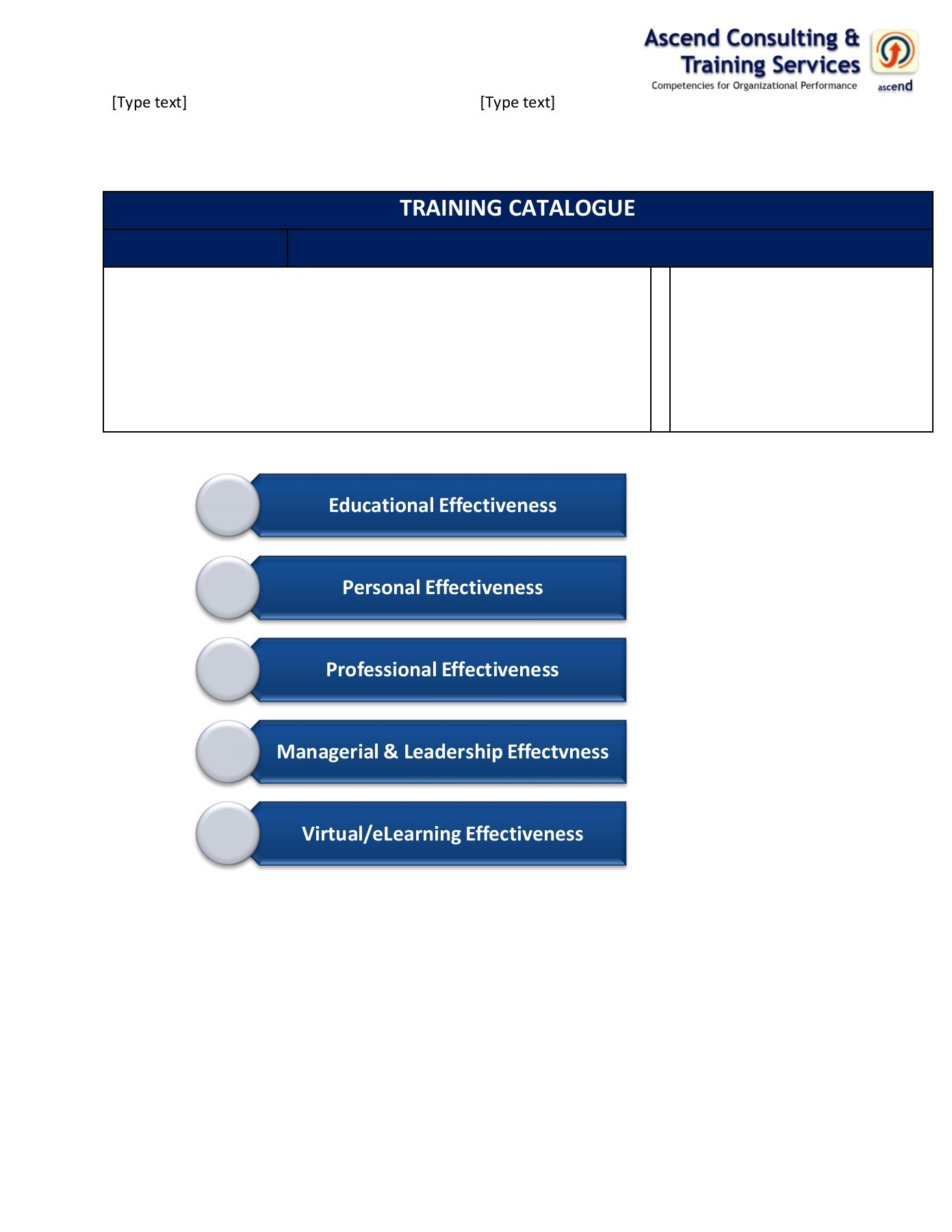 Training Catalogue Template