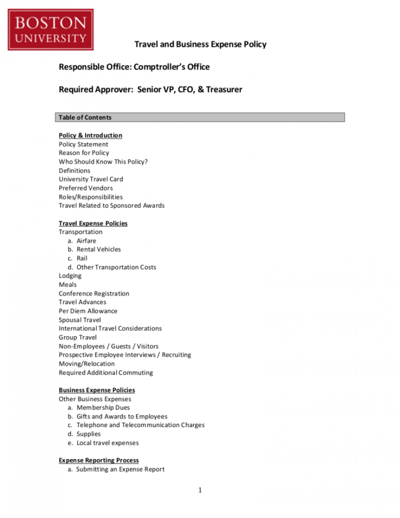 Travel And Expense Policy Template