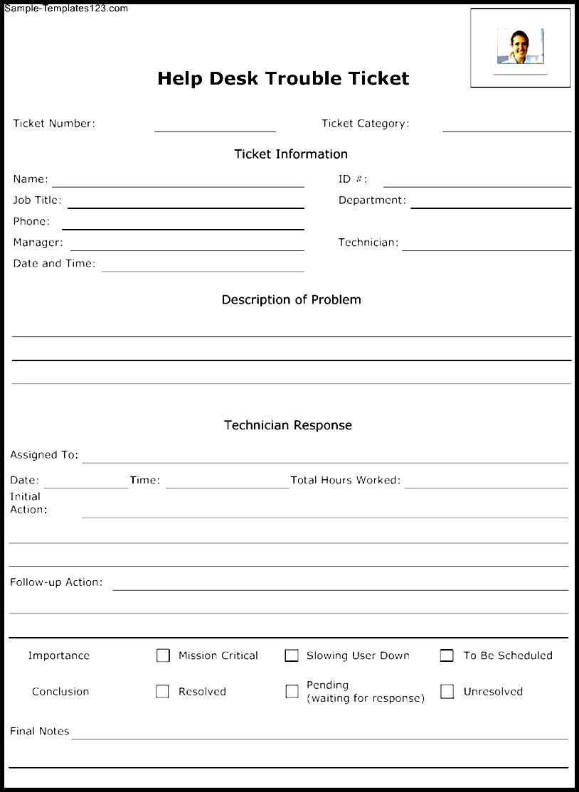 Help Desk Trouble Ticket Template