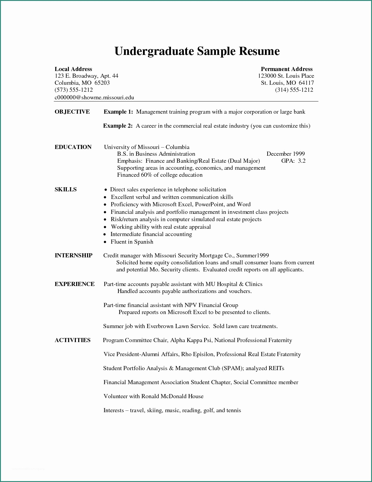 Word Resume Template 2 And Undergraduate Resume Template Word Sample Resume Cover