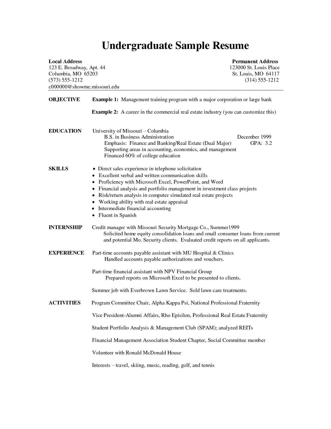 Undergraduate Student Resume Template Word