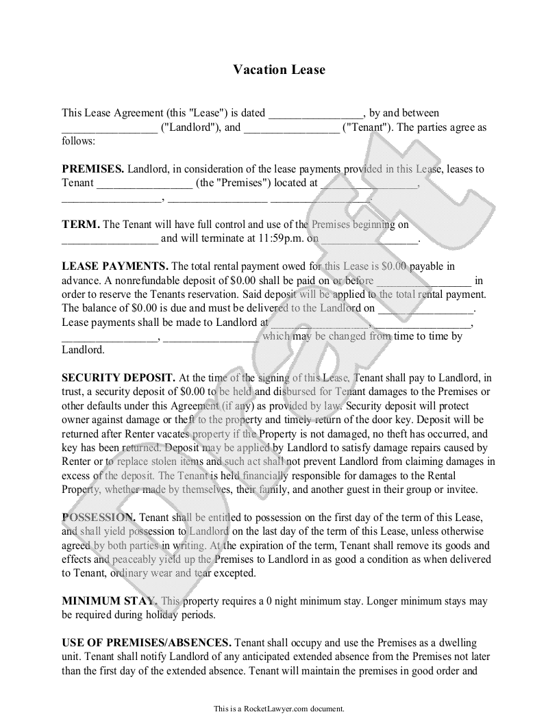 Vacation Rental Agreement Template