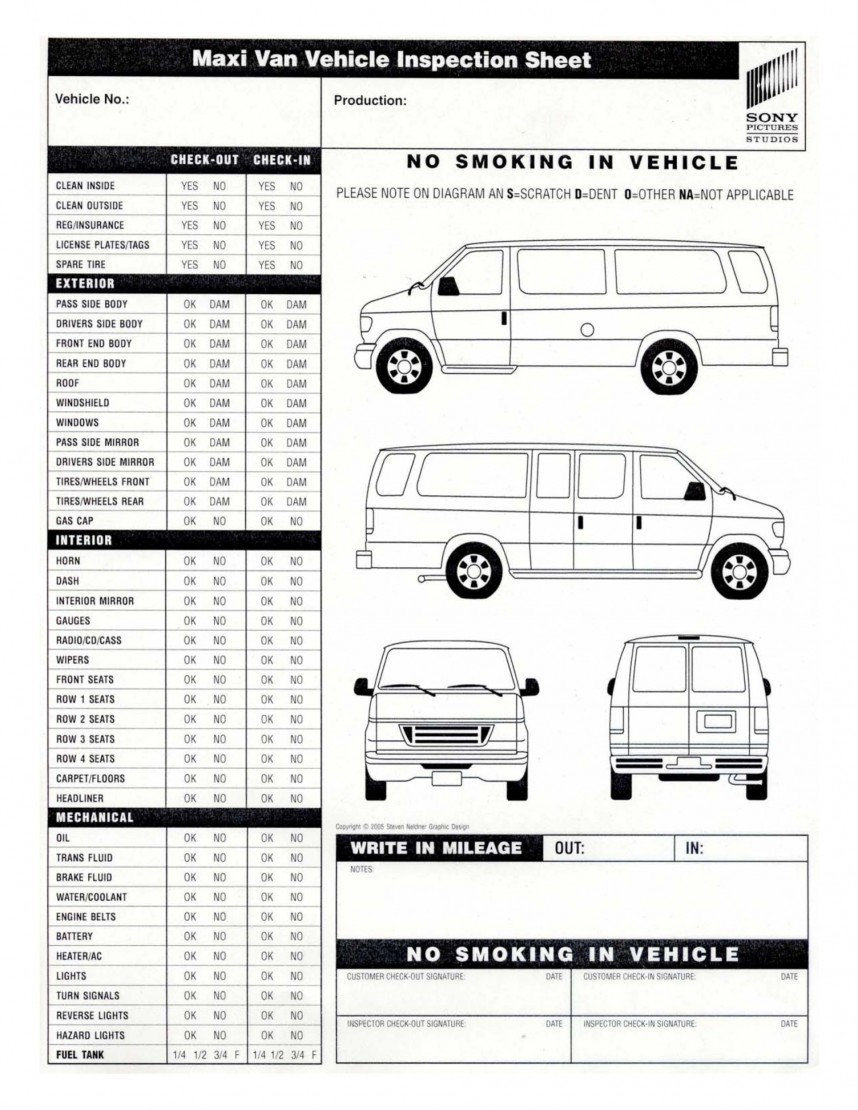 Vehicle Inspection Sheet Template Word