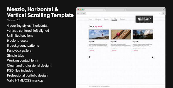 Vertical Scrolling Website Template