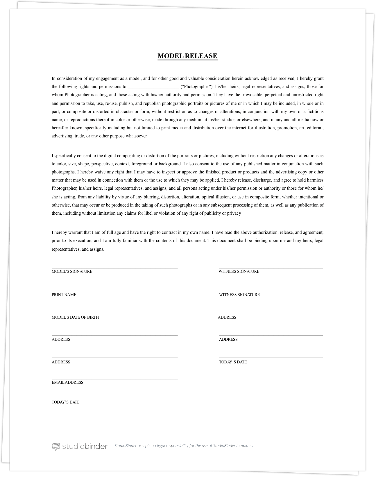 Videographer Contract Template Free