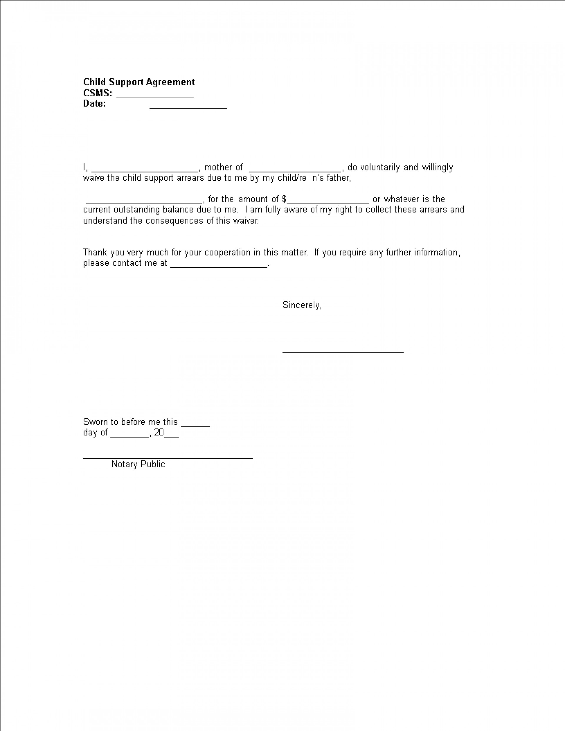 Voluntary Child Support Agreement Template