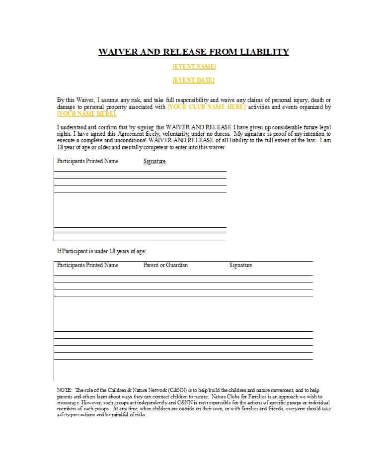 Waiver Of Liability Template Free