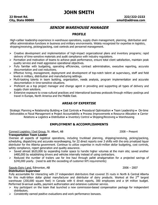 Warehouse Manager Resume Template