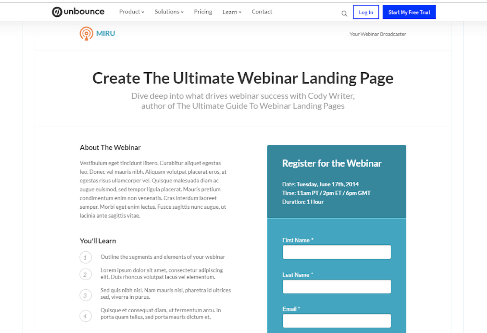 Webinar Landing Page Templates