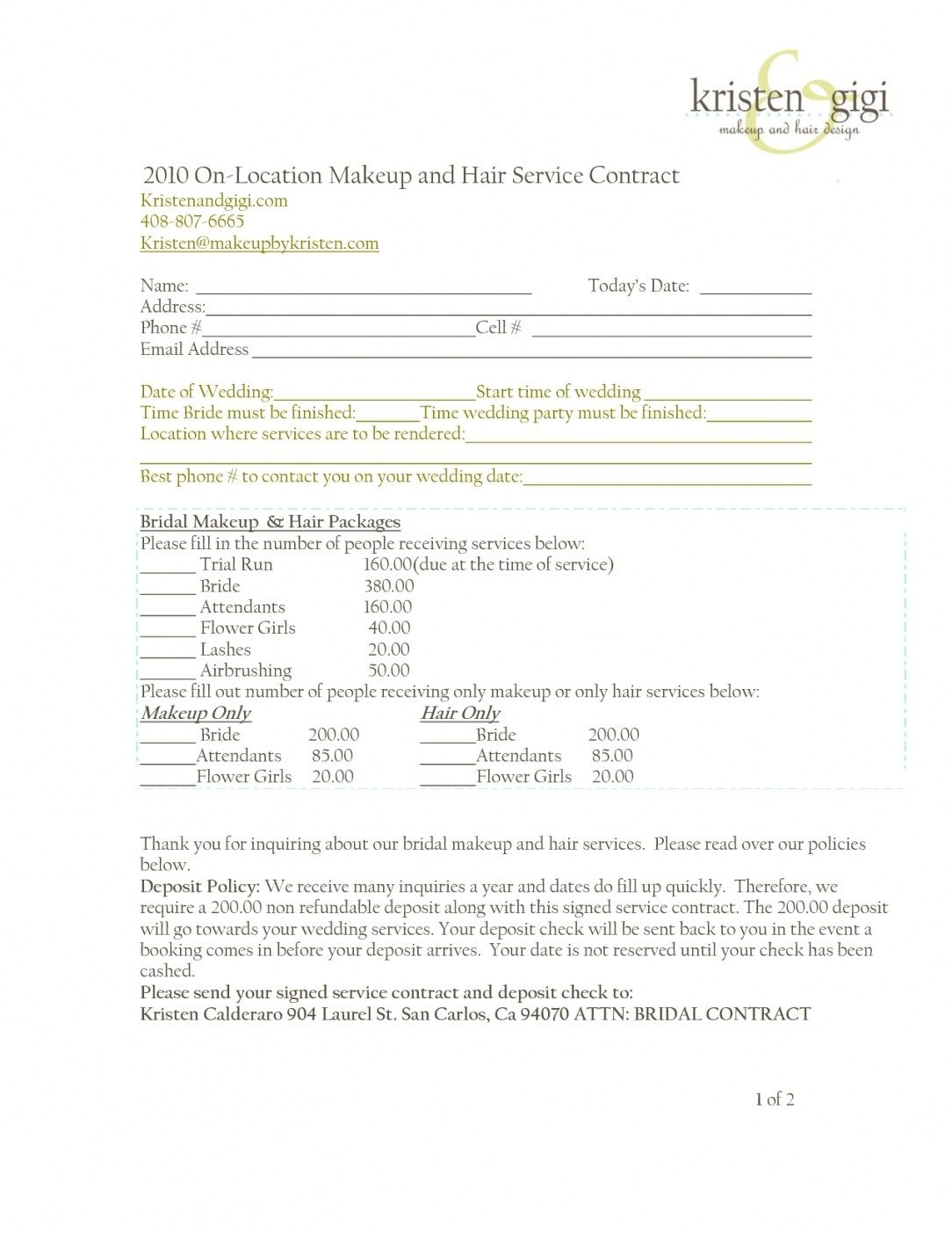 Wedding Hair Contract Template