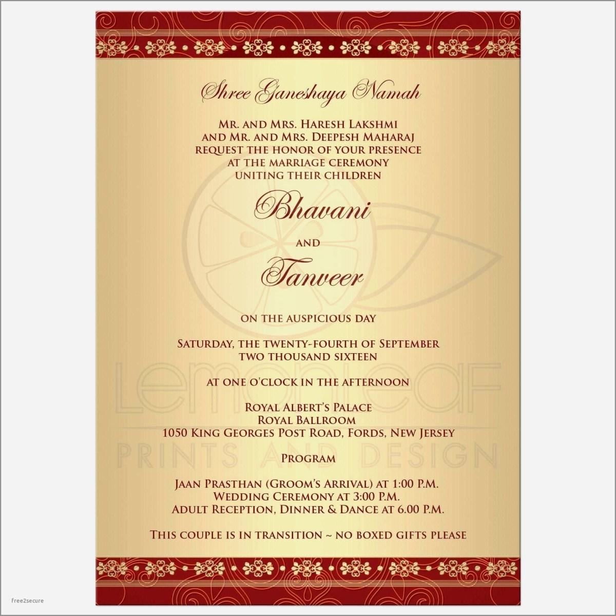Wedding Invitation Wording Templates India