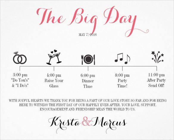 Wedding Itinerary Templates