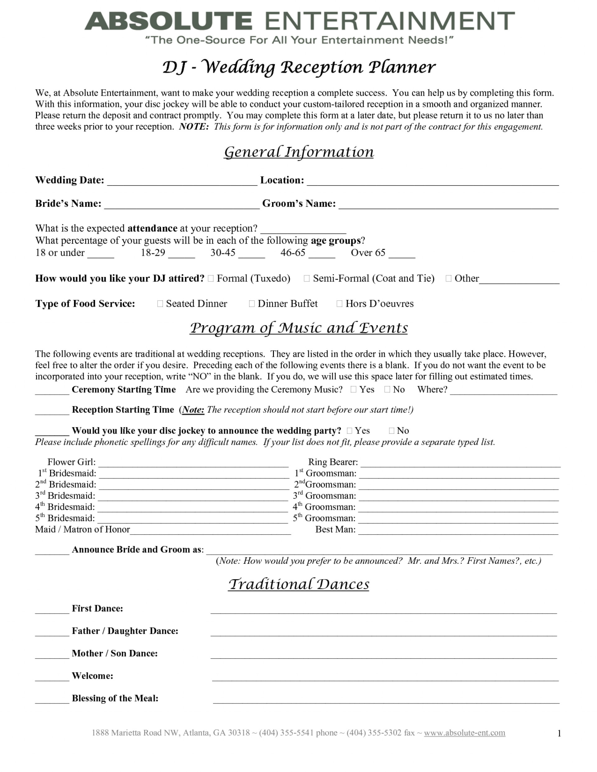 Wedding Reception Contract Template