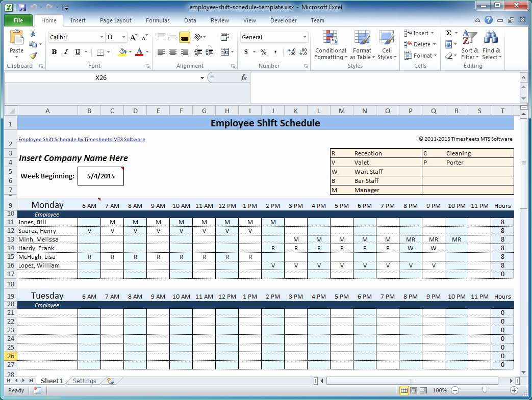 Work Schedules Template Awesome Weekly Employee Shift Schedule Template Excel