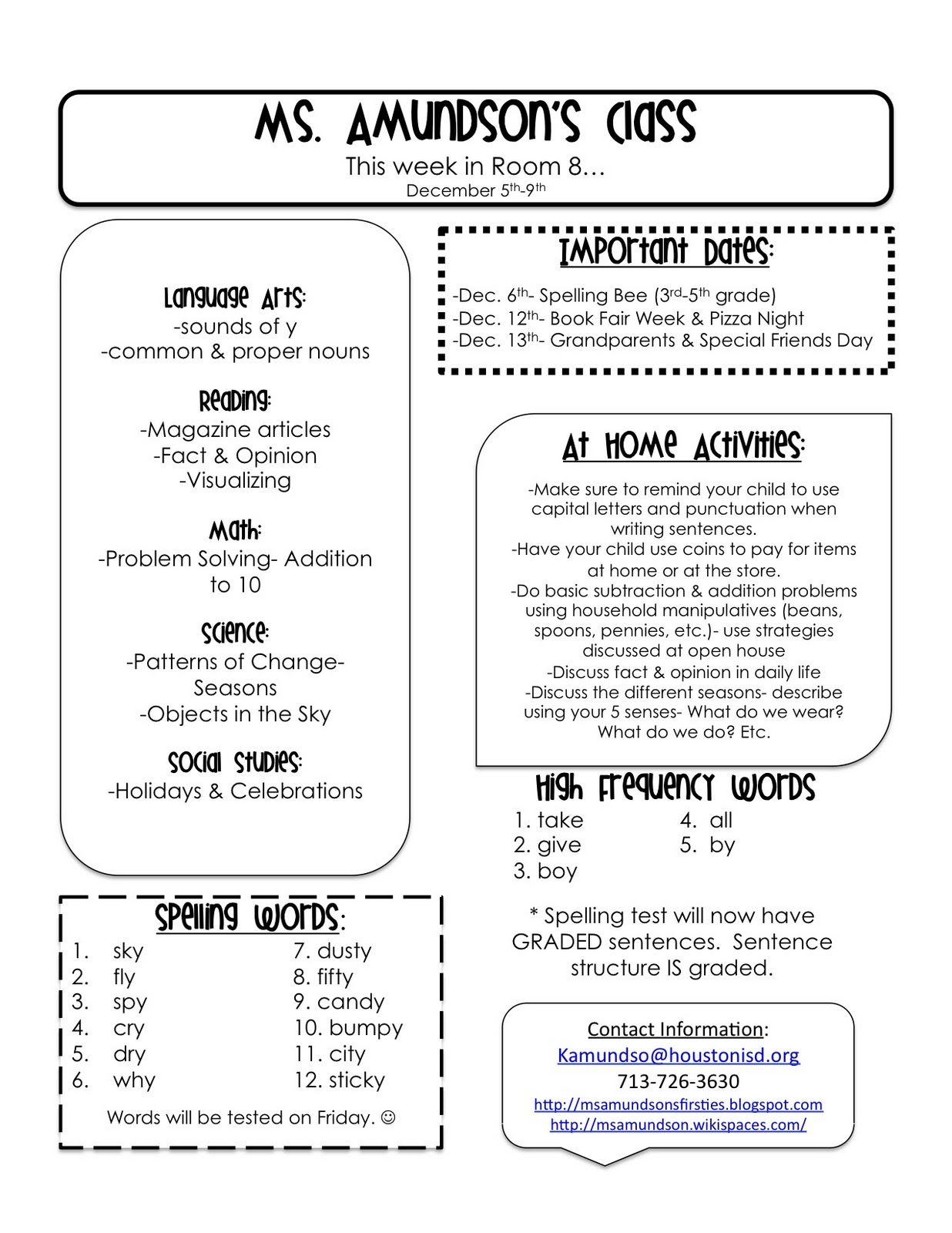 Weekly Newsletter Template For Teachers