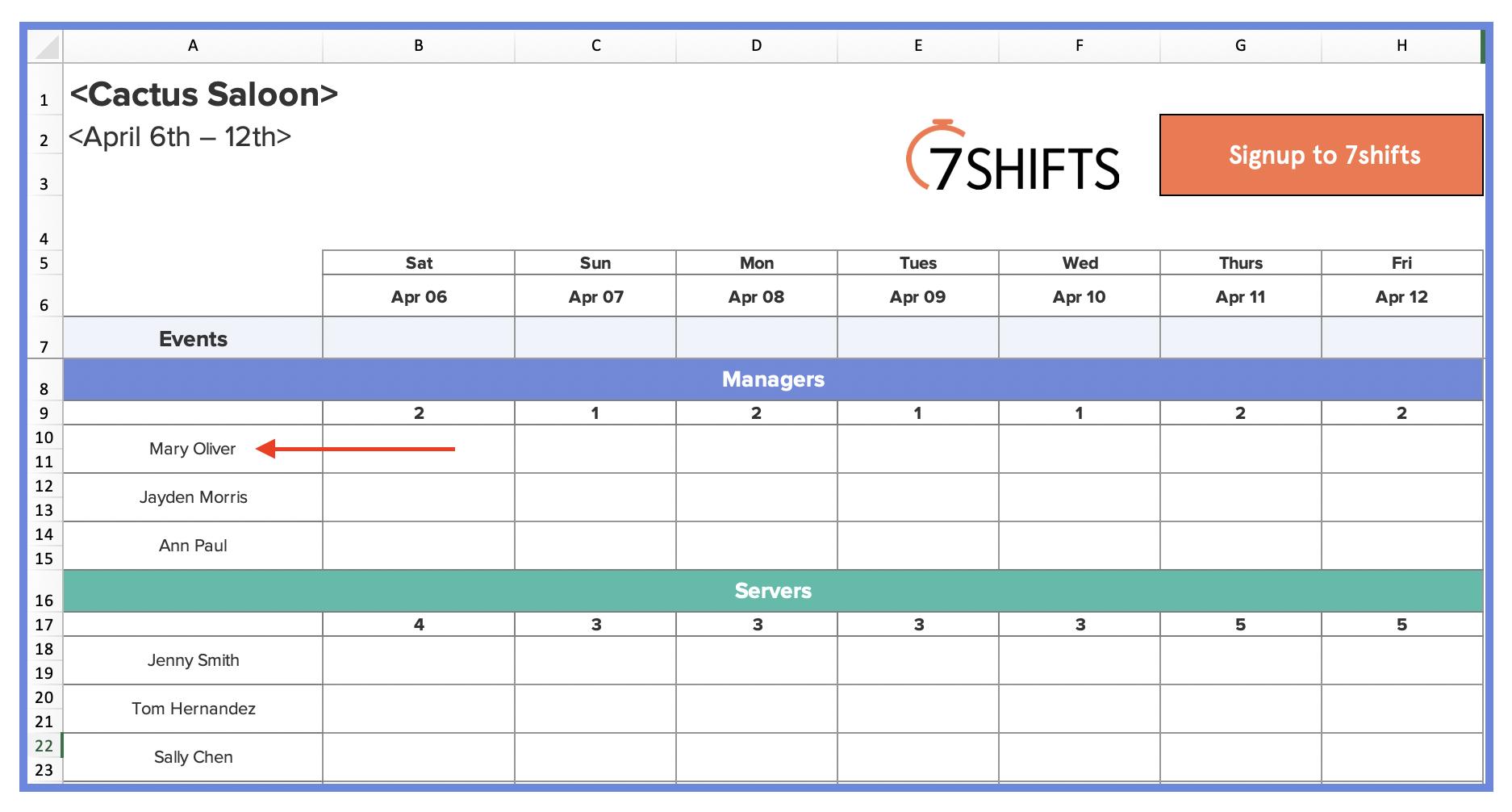 Weekly Restaurant Employee Schedule Template