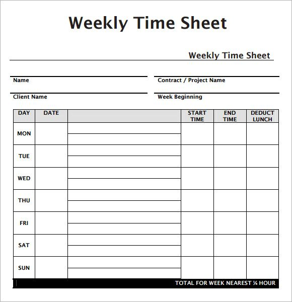 Weekly Time Sheet Template