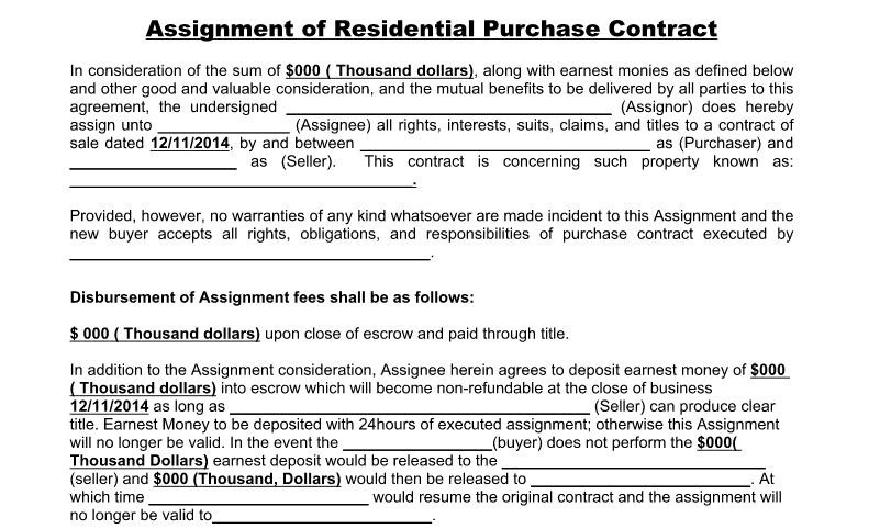 Wholesale Assignment Contract Template